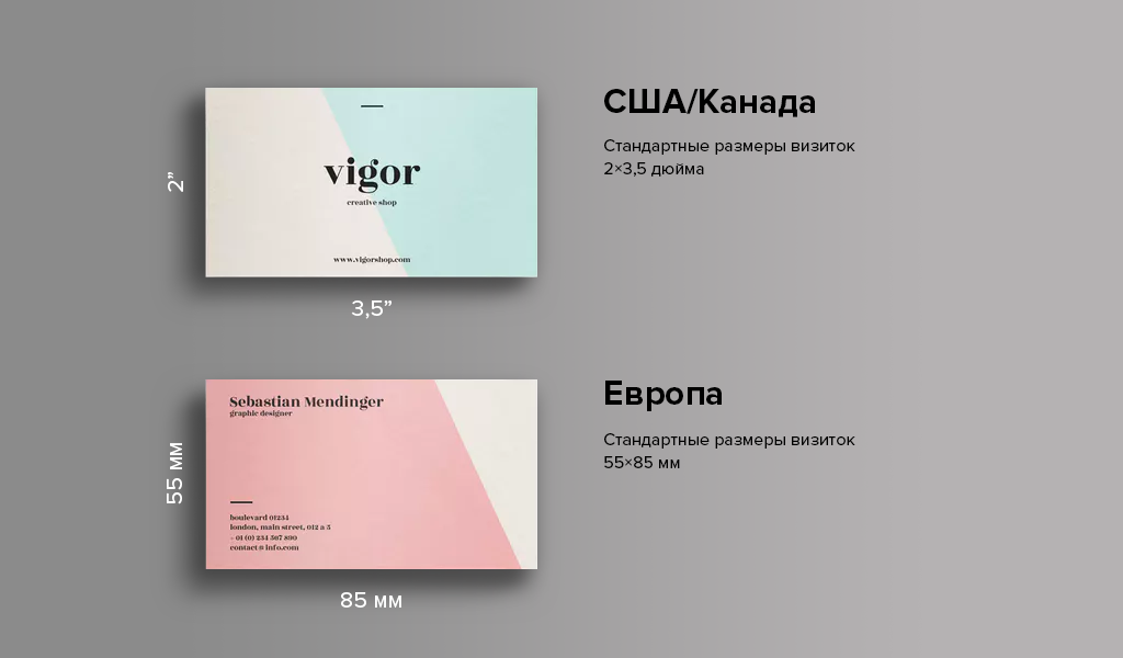 Размеры визиток США, Канада, Европа