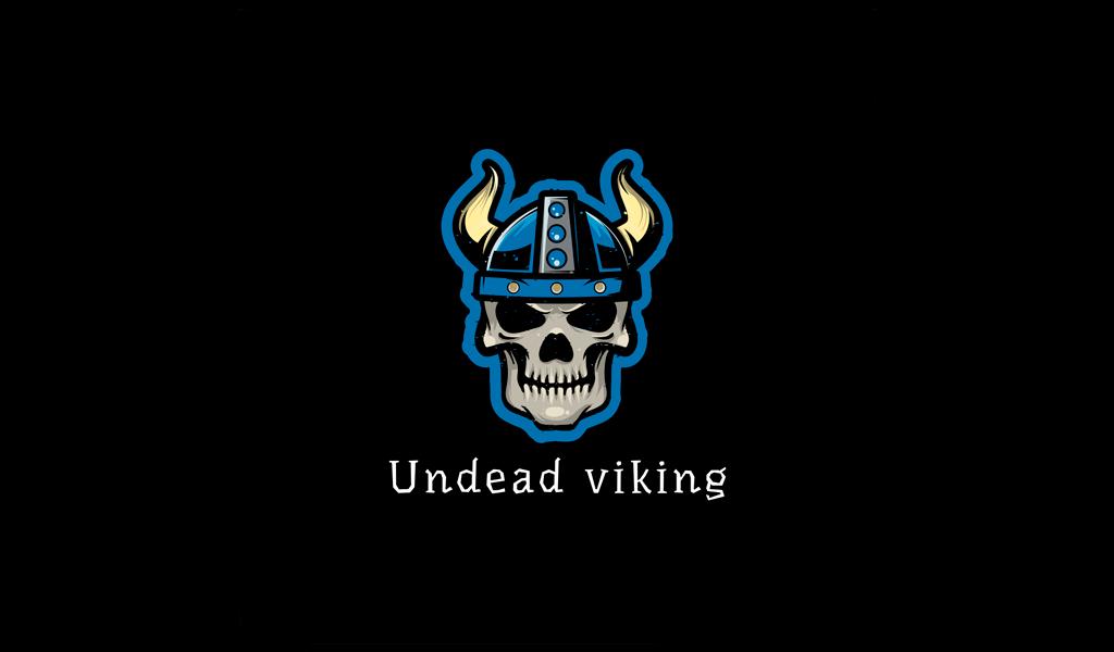 Игровой логотип череп викинг