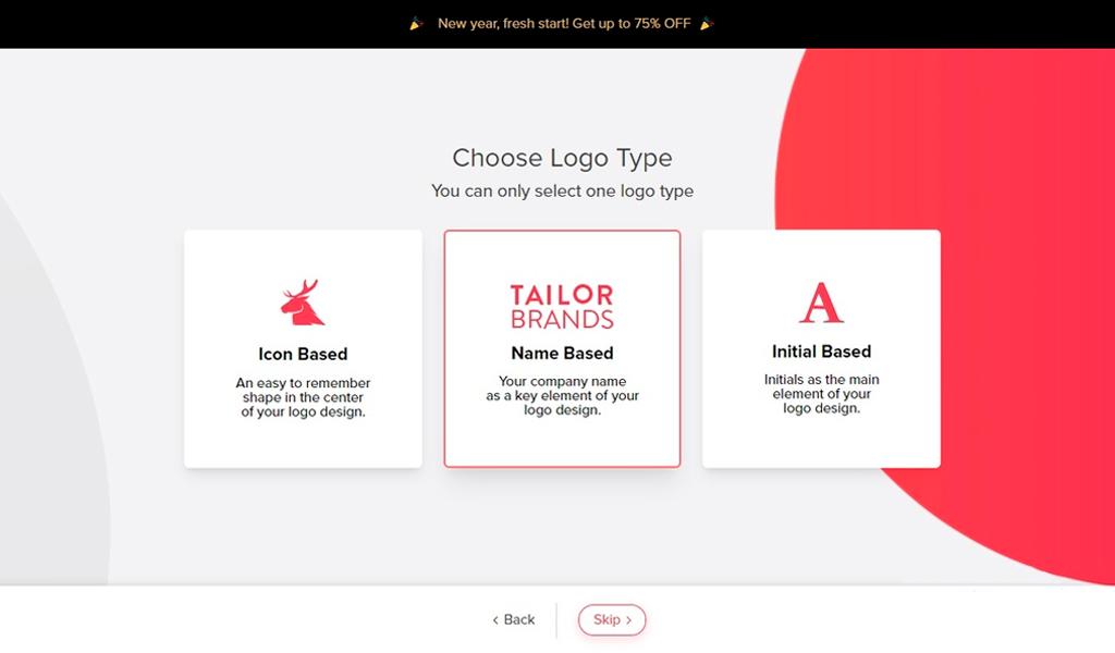 Tailor Brands Выбор дизайнов лого